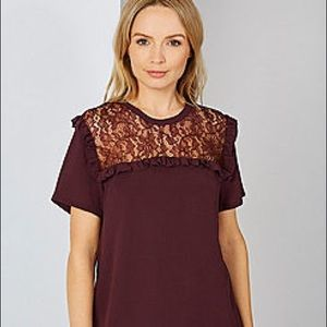 NWT French Connection Lace Yoke Burgundy Top Small